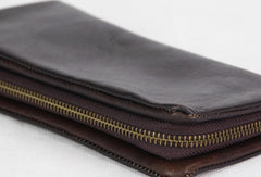 Handmade black gray vintage minimalist leather phone clutch long zip wallet for men