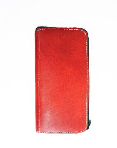 Handmade red vintage minimalist zip leather phone clutch long wallet for women