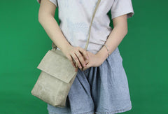 Handmade vintage leather gray minimalist crossbody Shoulder Bag for girl women