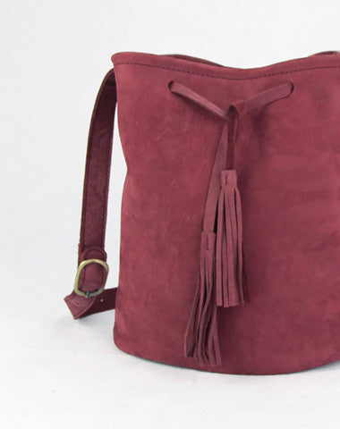 Handmade red vintage leather minimalist bucket crossbody Shoulder Bag for girl women