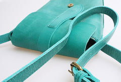 Handmade vintage leather basket green crossbody Shoulder Bag for girl women