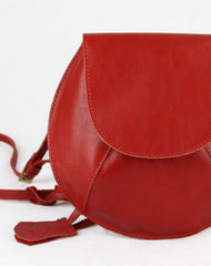 Handmade round cute leather minimalist crossbody Shoulder Bag for girl women
