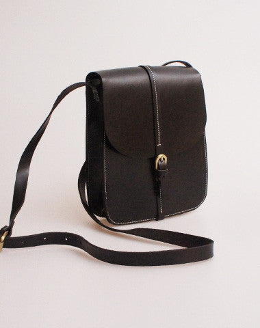 Handmade vintage black leather minimalist shoulder crossbody Bag for girl women