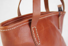 Handmade modern vintage fashion leather busket handbag shopper Bag for women