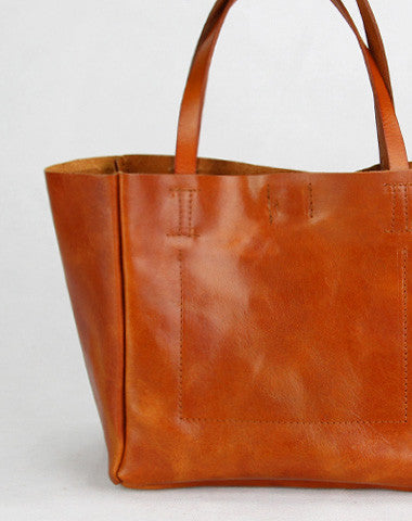 Handmade modern vintage leather minimalist handbag tote shopper Bag for girl women