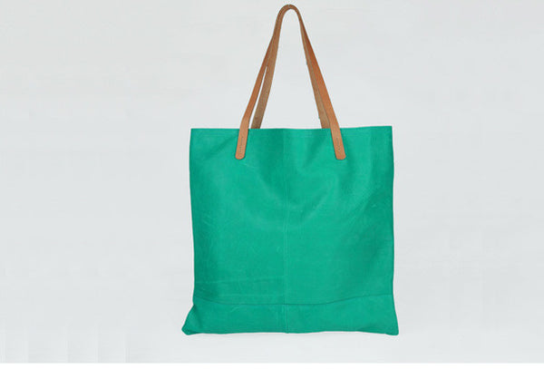Handmade modern cute leather minimalist handbag tote shopper Bag for girl women