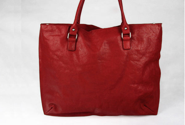 Handmade red modern vintage leather large handbag tote shopper Bag for women