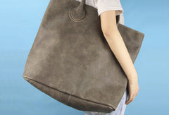 Handmade large gray vintage leather minimalist handbag tote shopper Bag for women