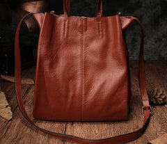 Dark Brown Leather Handbag Tote Shopper Bag Shoulder Tote Purse For Women