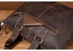 Vintage Brown Leather Mens 15 inches Briefcase Laptop Side Bag Business Bag Brown Work Bags for Men