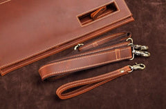 Dark Brown and Brown MENS LEATHER SLIM CLUTCH ENVELOPE BAG CLUTCH BAG FOR MEN