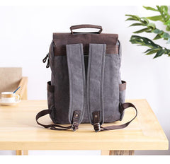 Dark Gray Waxed Canvas Mens Large 15'' Laptop Backpack College Backpack Hiking Backpack for Men