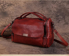 Vintage Womens Leather Handbags Brown Side Bag Red SHoulder Bag Purse for Ladies