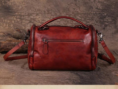 Hand-Dyed Vintage Womens Leather Handbags Red Side Bag Green SHoulder Bag Purse for Ladies