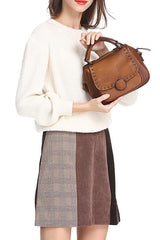 Purple Vintage Womens Leather Rivet Handbag Side Bag Brown Satchel Bag Purse for Ladies