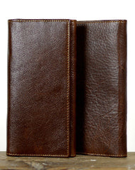 Leather Men long wallet Vintage trifold dark brown Long wallet clutch purse For Men