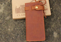 Handmade leather Vintage brown bifold biker chain wallet men long wallet purse