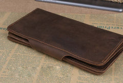Handmade leather long wallet Vintage bifold brown Long wallet clutch purse For Men