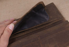 Handmade men leather long wallet Vintage bifold dark brown wallet clutch purse
