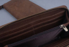 Handmade leather long wallet Vintage bifold brown zip wallet clutch purse For Men