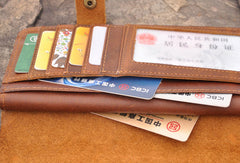 Handmade men leather Vintage brown trifold wallet men long wallet purse clutch