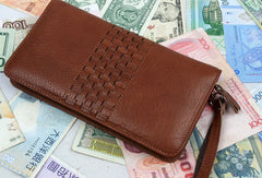 Leather men clutch Vintage brown coffee zip clutch men long wallet purse clutch
