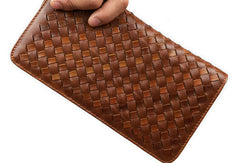 Handmade leather men modern brown coffee weave zip clutch men long wallet purse