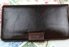 Leather men dark brown vintage clutch men multi card holders long wallet purse
