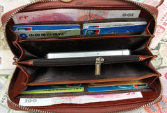Leather men clutch brown vintage red brown zip clutch men long wallet purse clutch
