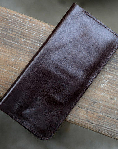 Leather Men long wallet Vintage bifold coffee Long wallet clutch purse For Men