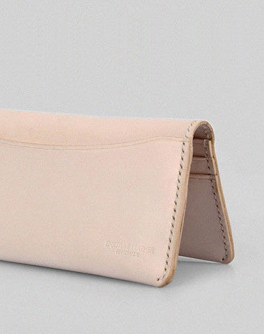Handmade vintage modern beige minimalist leather phone clutch long wallet for women
