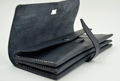 Handmade vintage black minimalist leather phone clutch long wallet for women men