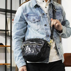 FASHION BROWN LEATHER MEN'S Small Side Bags MESSENGER BAG BLACK Black Courier Bag FOR MEN