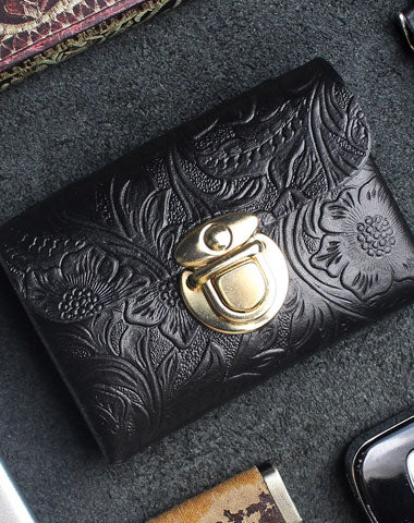 Handmade card leather change coin wallet flowral leather short wallet for men women