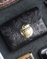 Handmade card leather change coin wallet flowral leather billfold wallet for men women
