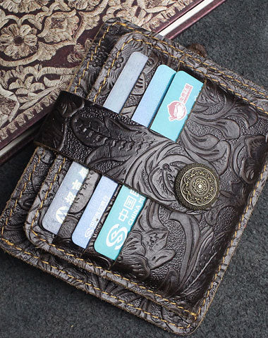 Handmade billfold Leather Wallet Cards Wallet Flowral Leather billfold Wallet For Men Women