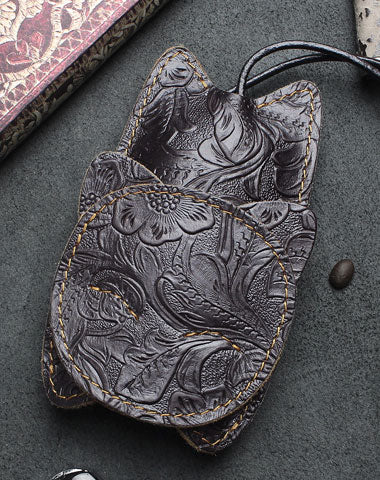 Handmade Car Key Wallet Vintage Leather Wallet Cat Kitty Cute Carved Floral Leather Accessories Gift For Men Women