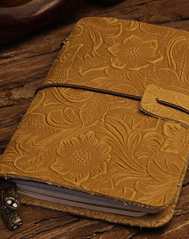 Handmade billfold Bifold Leather Trip Travel Notebook Wallet Floral Leather billfold Wallet For Men Women