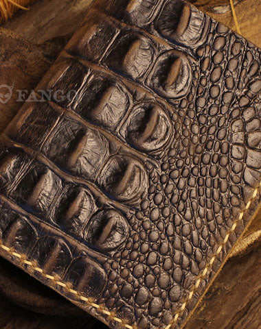 Handmade short leather wallet crocodile style leather short wallet for men women