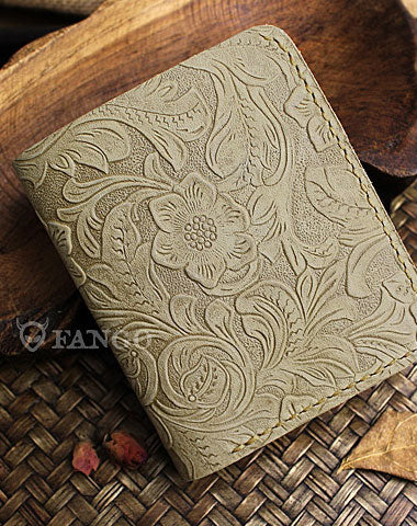 Handmade mens small leather wallet flowral leather billfold wallets for men women