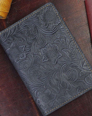Handmade billfold Leather Wallet Floral Leather billfold Passport Wallet Purse For Men Women