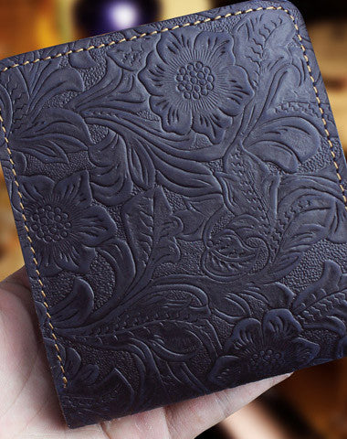Handmade short leather wallet flowral leather short wallet for men women