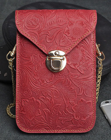 Handmade phone leather shoulder purse bag wallet flowral leather billfold wallet for men women