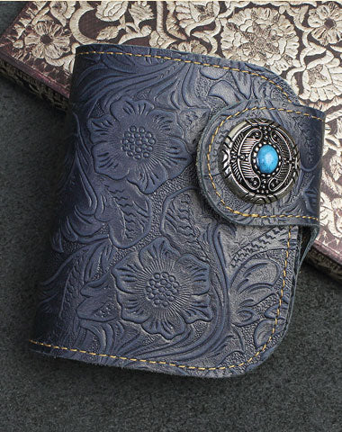 Handmade Short Bifold Leather Wallet Floral Leather Botton Short Wallet For Men Women