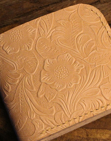 Handmade billfold leather wallet floral leather billfold wallet for men women