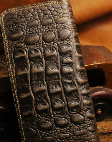 Handmade long leather wallets crocodile zipper leather clutch wallets for men