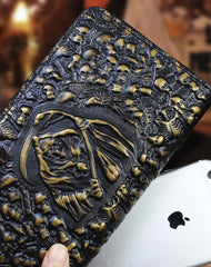 Handmade zip long wallet leather men skull death clutch phone wallet for men