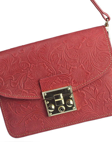 Handmade crossbody bag leather shoulder bag purse floral leather for women