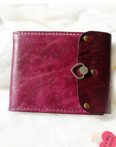 Handmade pink vintage leather short ID card photo holder bifold wallet for women girl