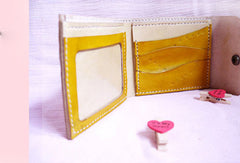Handmade yellow vintage leather short ID card photo holder bifold wallet for women girl